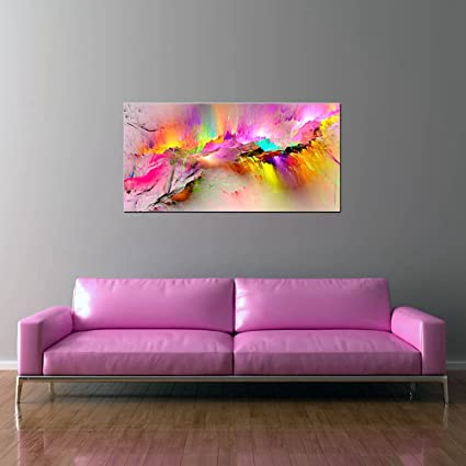Home Living room Wall decor,by Matis-Art named:Bright combination Original Modern Acrylic Abstract Red Blue Pink White Painting on Canvas