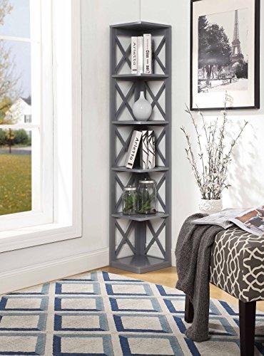Convenience Concepts Oxford 5Tier Corner Bookcase Gray