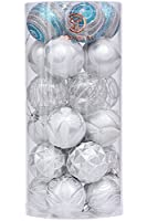 "Sea Team 60mm/2.36"" Decorative Shatterproof Painting & Glitering Designs Christmas Ornaments Christmas Balls Set with Embossed Finish Surface, 24-Pack, Silver"