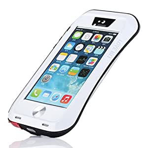 iPhone 6 Plus Case AESTAR Newest Extreme Shockproof Rainproof Dust/Dirt Proof Aluminum Metal Gorilla Glass Military Heavy Duty Hard Protective Case Cover for Apple iPhone 6 Plus 5.5 inch & 1 Brand New Ultra Slim Christmas Back Case Cover (White Black Red)