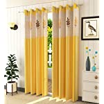 LaVichitra Polyester Door Curtain with Floral Net (7ft, Yellow) -2 Pieces