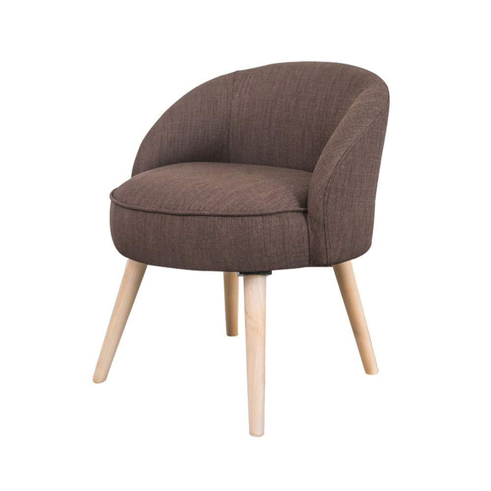 Yzibei Startseite Moderner Akzent-Stuhl mit Massivholzbeinen und Polstersitzkissen for Wohnzimmer Schlafzimmer Dorm Wohnung für Schminktisch (Farbe : Kaffee, Größe : 54x70cm)