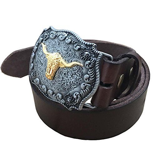 Belt and Buckle,Vintage Leather Belts for Men 1.5 inch Wide Full Grain Genuine with Buckle Golden Longhorn Tan 36 37 38 - Changeable Buckle