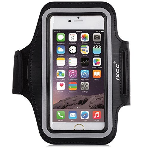 iPhone 6 / 6s Armband, iXCC Trek Series Sport Running Sweatproof Armband with Dual Arm-Size Slots for iPhone 6, 6s, 5s, 5, 5c, iPod MP3 Player - Black