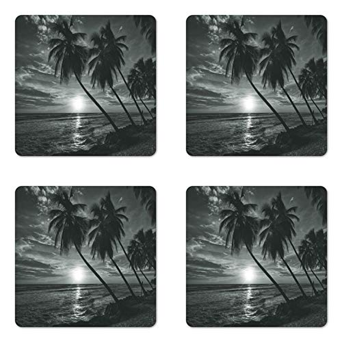 Coaster Themed Photo Beach - Ambesonne Tropical Coaster Set of 4, Coconut Palm Trees on Beach Bend by the Wind Horizon over the Sea Picture, Square Hardboard Gloss Coasters for Drinks, Grey Black