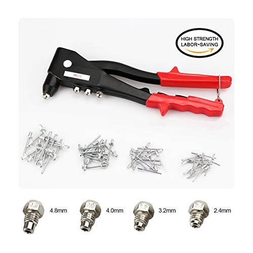 Professional Pop Rivet Gun Kit with 60 Metal Rivets and Wrench, Contractor Grade Riveter, Hand Repair Tools Riveter, Heavy Duty Hand Riveter Set for Sheet Metal, Automotive and Duct Work