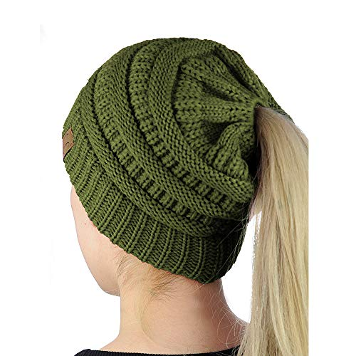 Easy-W Olive Green Beanie Colorful Soft Stretch Cable Knit Beanie Ponytail Hole JA812 -