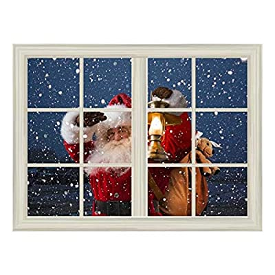 Removable Wall Sticker Wall Mural Santa Claus Carrying Gifts Outside of Window on Christmas Eve Creative Window View Wall Decor, With Expert Quality, Elegant Artisanship