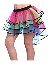Women Dancing Tutu Layered Organza Lace Rainbow Bustle Skirt Ruffle Tiered Clubwear