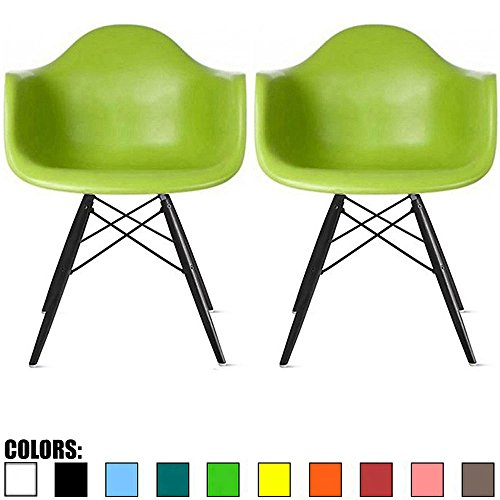 Contemporary Green - 2xhome Set of 2 Green Mid Century Modern Designer Contemporary Vintage Office Chairs Dining No Wheels Living Kitchen Guest With Arms Armchairs Solid Back Accent Plastic Dark Black Wood Wooden Legs DAW
