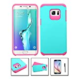 Samsung Galaxy S6 Edge Plus Case, JoJoGoldStar [Anti-slip] [Perfect Fit] Hybrid Slim Fit Heavy Duty Polycarbonate & Silicone TPU Astronoot Hard Cover + Screen Protector + Stylus (Teal / Pink)