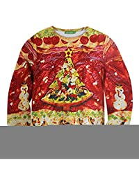 Sunling Unisex Pizza Tree Sweater Pullover Long Sleeve S-XXL