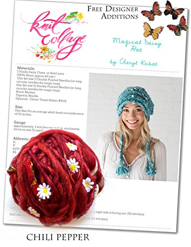 Daisy Knit Hat - Hat Knitting Kit: Magical Daisy Hat from Knit Collage (Chili Pepper)