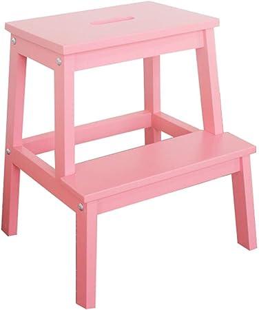HYDT Escaleras de Mano Elevador de escaleras móviles para niños/Adultos, Taburetes de Escalera Resistentes de Madera portátiles de 2 Pasos con Asas, Azul/Rosa, 36 × 24 × 50 cm (Color : Rosado): Amazon.es: Hogar