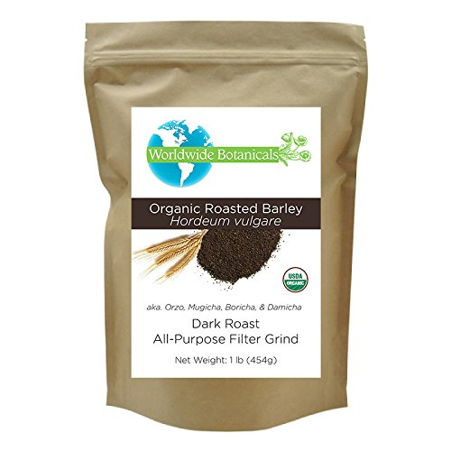 Delicious Coffee Substitute, Organic Roasted Barley from Worldwide Botanticals, Caffeine free, Acid free, AKA Orzo, Mugicha, Boricha, Damaicha, All-Purpose Filter Grind , 1 lb. (Barley Tea Caffeine)