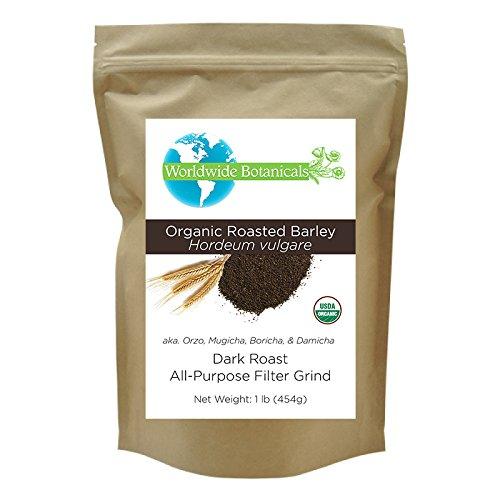 Worldwide Botanticals, Delicious Coffee Substitute, Organic Roasted Barley, Caffeine free, Acid free, AKA Orzo, Mugicha, Boricha, Damaicha, All-Purpose Filter Grind, 1 lb. (454g) by Worldwide Botanicals