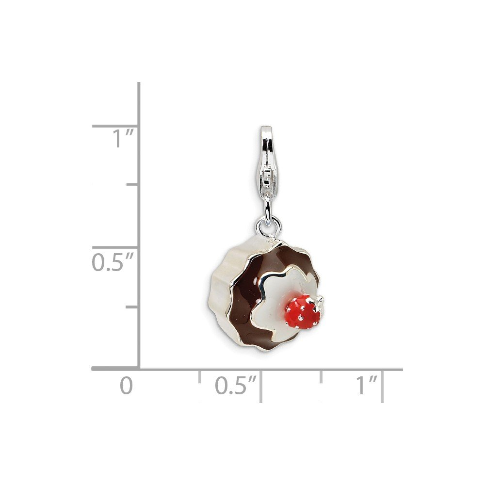 Roy Rose Jewelry Sterling Silver Amore la Vita 3-D Enameled Dessert w//Lobster Clasp Charm