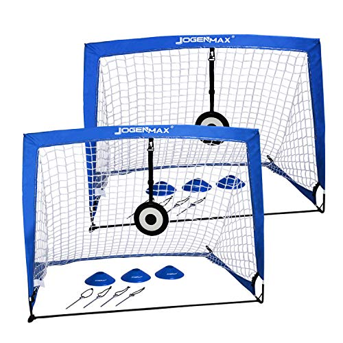 : JOGENMAX Portable Soccer Goal, Pop Up Goal Nets with Aim Target,Set of 2, with Agility Training Cones,Led Lights and Portable Carrying Case for Kids & Adults Size 4'X3'X3'