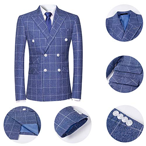 36d3f3e4103 Jual Mens Plaid 3 Piece Suits Double Breasted Retro Slim Dress ...