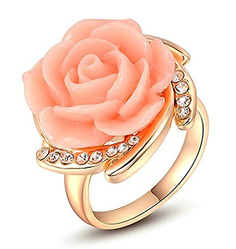 AmDxD Jewelry Gold Plated Women Engagement Rings Rose Gold Pink Flower Size 7