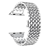 Leefrei Stainless Steel Watch Band Push Button Butterfly Clasp Compatible Apple Watch Series 3 Series 2 Series 1 38mm - Silver