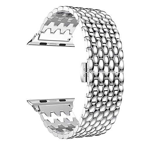 Leefrei Stainless Steel Watch Band Push Button Butterfly Clasp Compatible Apple Watch Series 3 Series 2 Series 1 38mm - Silver by Leefrei