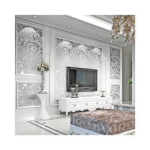 3D Decorative Wallpaper for Bedroom, Matte Silver Flower Wall Paper Metallic Wallpaper for Kitchen Decoration and TV Background in The Living Room (Metalic Wallpaper Silver)