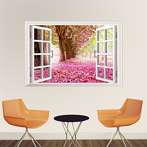 LAONA (Cherry blossom tree) 3D scenery the window wall sticker bedside background bedroom living room wall decoration sticker (6090cm)
