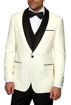 GEORGE BRIDE Men\'s One Button Satin Shawl Tuxedo Three Piece Wedding ...