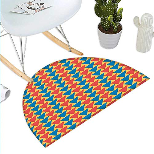 Anhuthree Kids Half Round Door mat Triangles Downwards Vertical Geometrical Pattern Shabby Colored Retro Tile Half Round Front Door mat Scarlet Blue - Tile Labrador Box