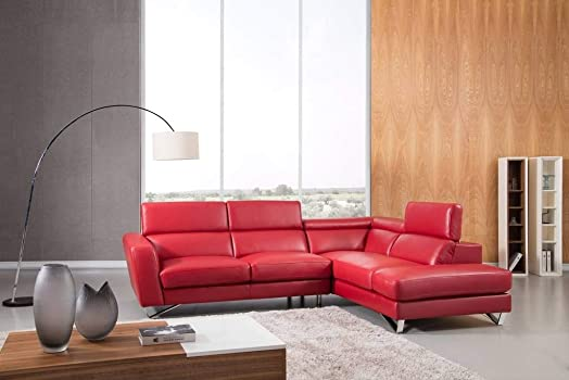 Greatime S2201 Top Grain Genuine Leather Sectional Sofa, Red, Right Facing Chaise