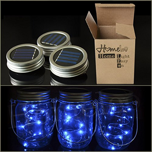 Homeleo 3 Pack Solar Mason Jar Blue String Light Lid Insert, Mason Jar Lantern LED Fairy Pendant Light