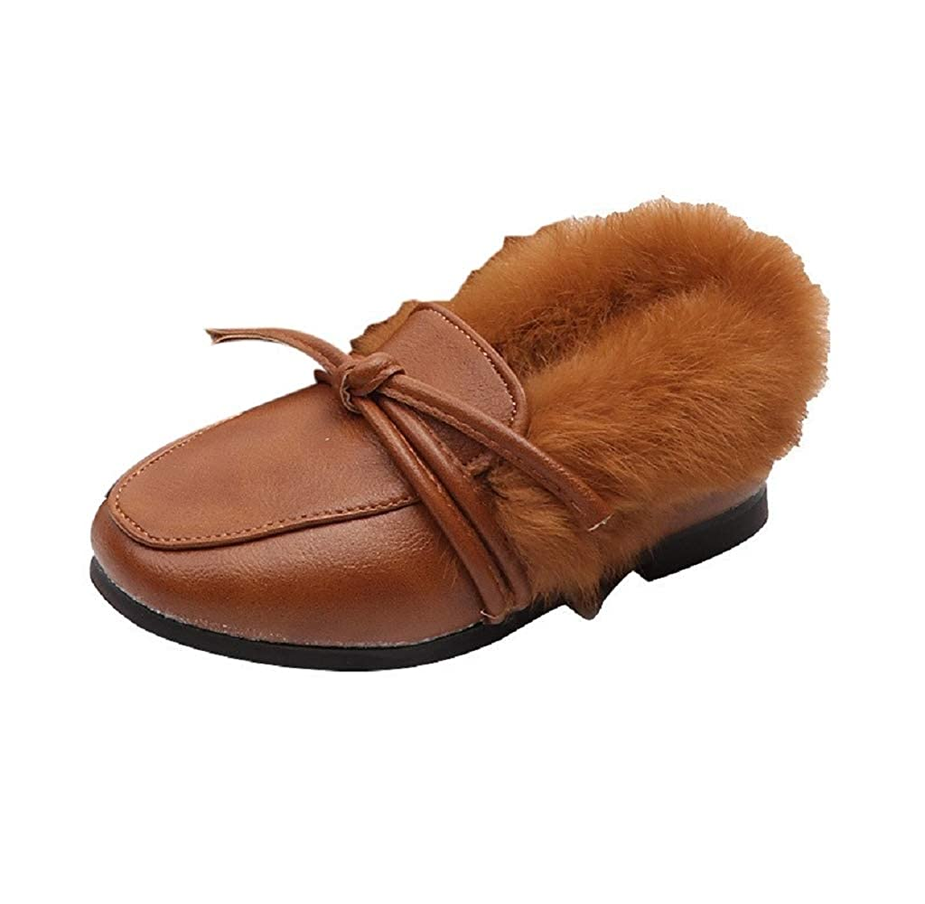XUANOU Children Kid Baby Girls Solid Tie Warm Leather Hair Student Single Shoes