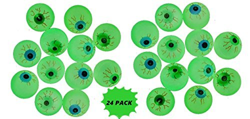 Rhode Island Novelty Glow in the Dark Halloween Eye Ball Bouncy Balls 32 mm Size Eyeballs - 24 Count -