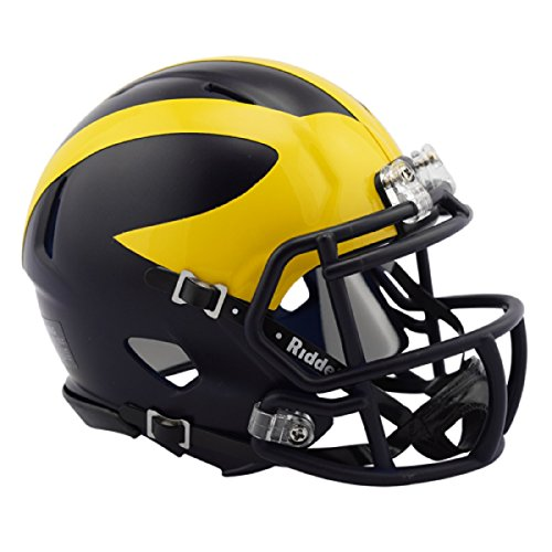 Riddell Revolution Helmets - Michigan Wolverines 2016 Low Gloss NCAA Riddell Revolution Speed Mini Football Helmet