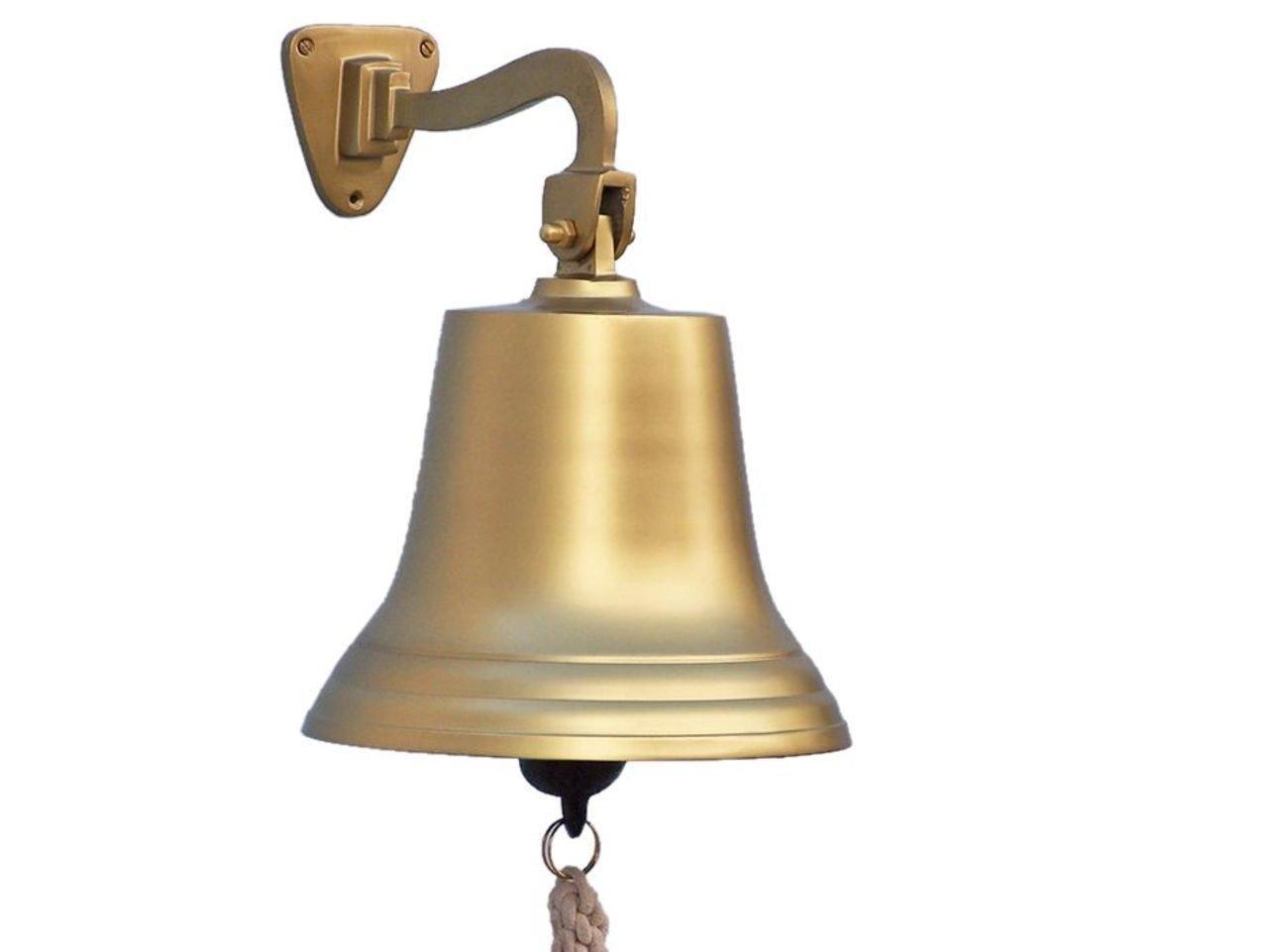 Hampton Nautical 3xglass-101 Antique Brass Hanging Ship's 15'' Bell-Nautical Decor, 15 inch,