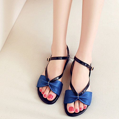 COOLCEPT Mujer Moda Ankle Strap Sandalias Punta Abierta Slingback Planos Zapatos Azul