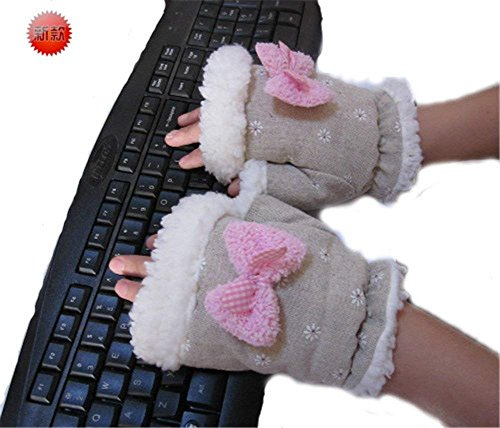 Laptop Gloves Winter Fingerless USB Handwarmers USB Heated Half Finger Women Hand Warmer Gloves Christmas Gift - Wired by COJOY (Image #1)
