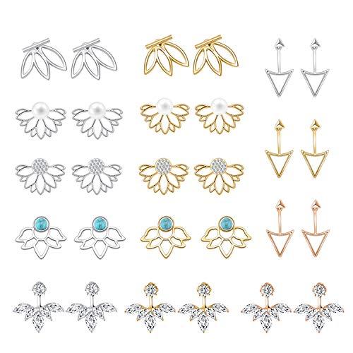 14 Pairs Ear Jackets Lotus Flower Earrings Jackets Simple Chic Ear Stud Earrings Set for Women Girls - Front Back Earrings