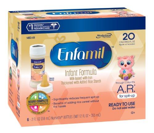 Enfamil  A.R. Baby Formula - 2 fl oz Plastic Nursette Bottles, 6 Count (Pack of 8)