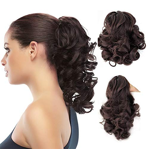 - Synthetic Clip In Claw Ponytail Curly Hair Extension Synthetic Hairpiece 90g with a jaw/claw clip