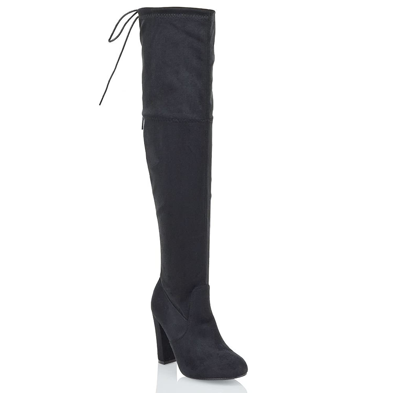 07caef6e3de2 ESSEX GLAM New Womens Thigh High Boots Ladies Over The Knee Stretch Evening  Block…