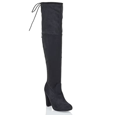 9b70fea1623c0 ESSEX GLAM New Womens Thigh High Boots Ladies Over The Knee Stretch Evening  Block Mid Heel: Amazon.co.uk: Shoes & Bags