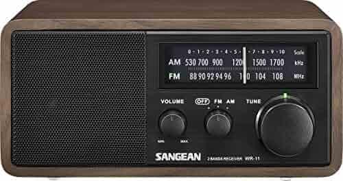 Sangean WR-11BK Wood Cabinet AM/FM Table Top AM/FM Radio + Aux, Headphone Jack Limited Edition Color