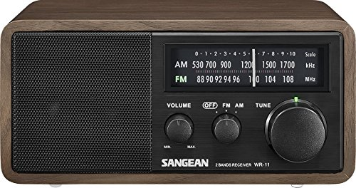Sangean WR-11BK Wood Cabinet AM/FM Table Top AM/FM Radio + Aux, Headphone Jack Limited Edition Color