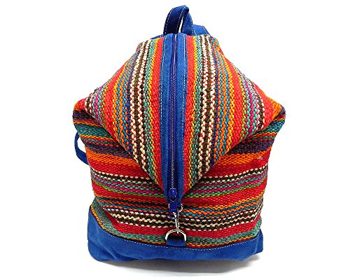 Multicolored Striped Woven Wool Suede Leather Women Fashion Travel Adjustable Convertible Style Backpack Daypack Purse (Blue) ()