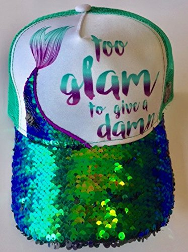 (Hippie Runner Too Glam to GIVE A Damn! Hat. Exclusively Offered Custom Sequined Mermaid Tail Snap Back Trucker Hat Anywhere Else! Mermaid! Mermaid! Mermaid! Mermaid! Mermaid! )