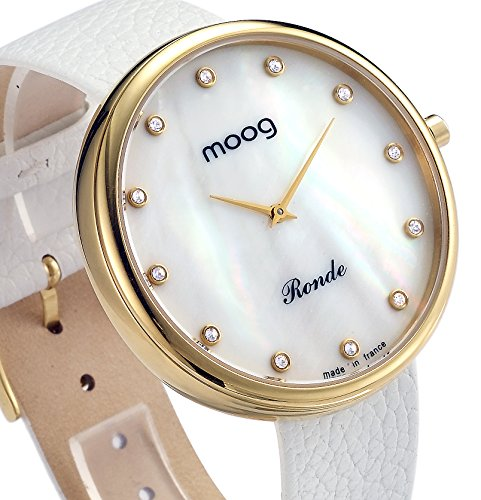 Moog Paris Women's Swiss Quartz Stainless Steel and Leather Casual Watch, Color:White (Model: XWA3660)