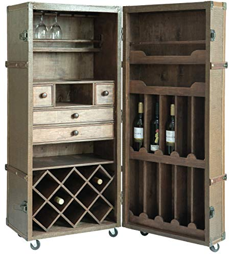 - Vintiquewise QI003410L Vintage Crocodile Leather Wine Bar Cabinet with Lockable Latch, Brown