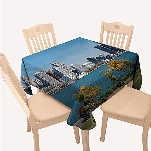WilliamsDecor Detroit Party Supplies Tablecloth Industrial City Center Shoreline River Scenic Panoramic View in a Sunny DayBlue Green Silver Square Tablecloth W60 xL60 -